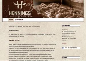 Webseite Brauerei Hennings